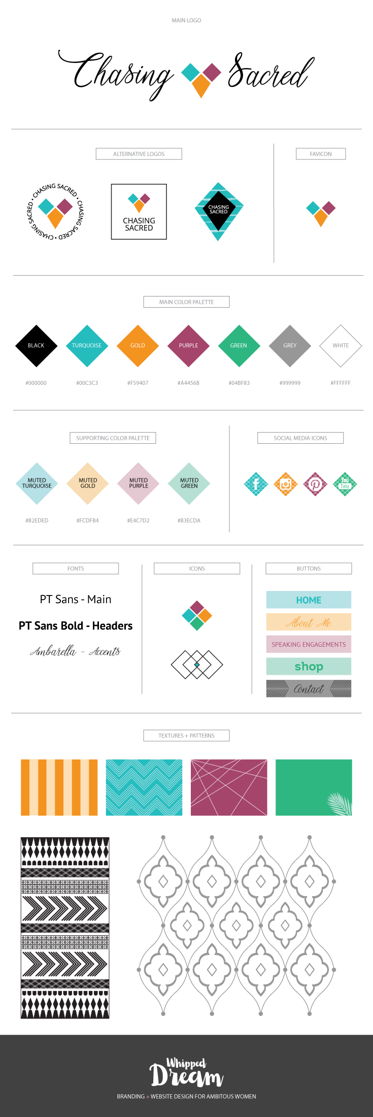 Chasing Sacred Branding Board | Designed by Whipped Dream